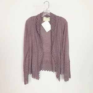 Sparrow Anthro dusty purple lace cuff cardigan M